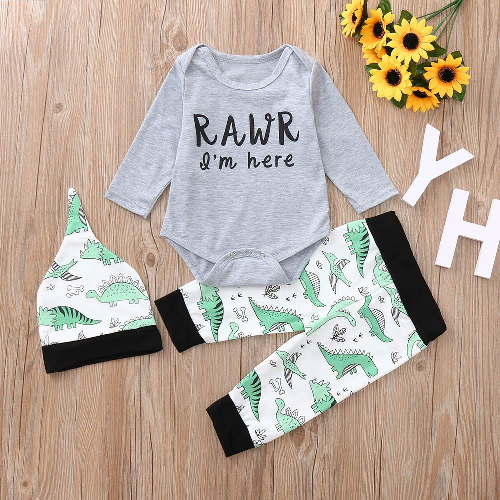 8ba86f7a1 2019 Good Quality Fashion Kids Winter Clothes Baby Girl Boys Clothing Set  Letter Cartoon Dinosaur Romper Jumpsuit Pants Clothing Set From  Textgoods02
