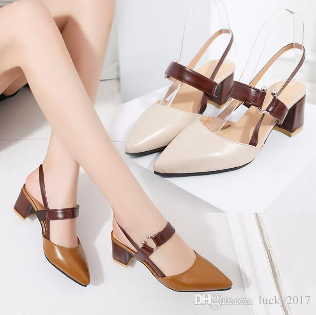 8b671fed0bb 2019 Spring New Hollow Coarse Sandals High Heeled Shallow Mouth Pointed  Baotou Shoes Work Shoes Women Female Sexy High Heels Cute Shoes Leather  Sandals From ...