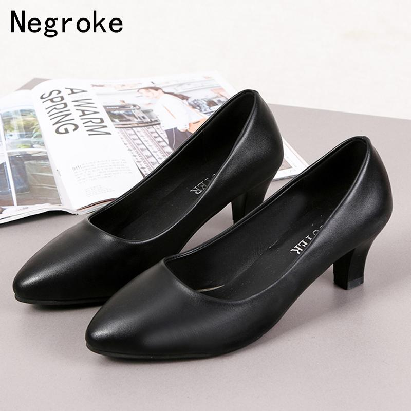 fda0e9c69214 Designer Dress Shoes Fashion Woman Black Leather Mid Heels Women Pumps  Stiletto Women Shallow Pointed Toe Wedding Formal Shoes Cheap Shoes For  Women From ...