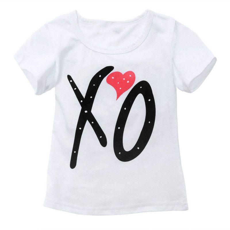2017 Mode d'été Bébés filles Lettre Blanc Enfants Tout-petit à manches courtes T-shirt Hauts Pantalons noirs Ensembles PU LongOutfit