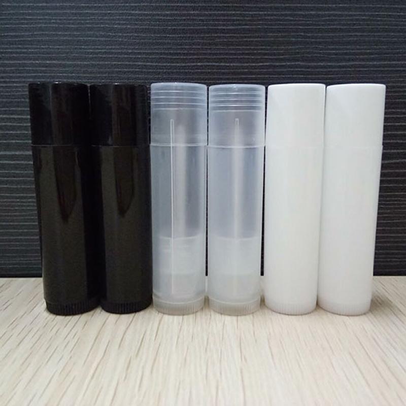 Mini 5G Empty DIY Oval Lip Balm Tubes Portable Deodorant Containers Fashion  Black Lip Tube Clear White Lipstick 1000pcs/lot