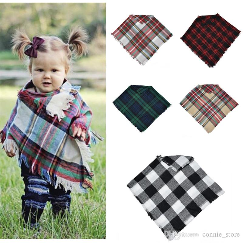 5 Colors Baby Girls Winter Plaid Cloak Kids Lattice Shawl Scarf Poncho Cashmere Cloaks Outwear Children Coats Jackets Clothing NC166