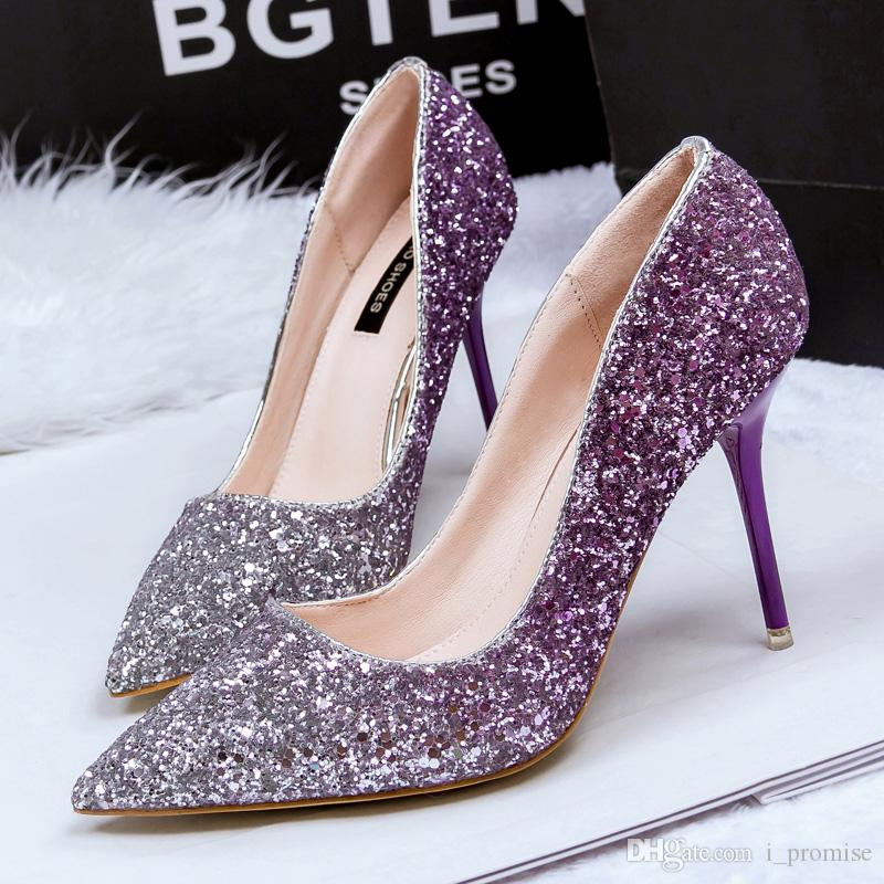 Blingbling Ombre Wedding Shoes Sexy High Heel Shoes Pointed Toe Sequined  Cloth Thin Heels Nightclub Bridal Purple Autumn Ladies Shoes Flat White  Wedding ... e7c93121543a