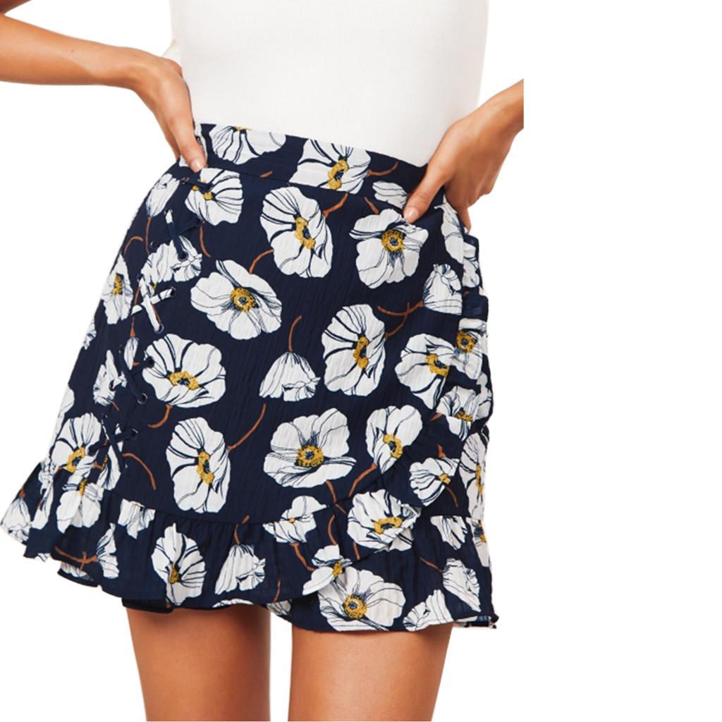63517f8de Feitong Moda Mujer Faldas Sexy Volantes Estampado floral Mar Playa Daliy  Casual Short Mini Falda de Verano Jupe Femme Faldas Mujer