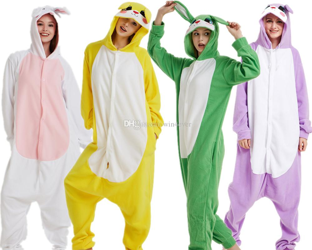 795a032f5da1 Adult Kigurumi Rabbit Onesie Anime Fleece Cosplay Costume Pyjamas Halloween  Carnival Jumpsuit Loose Masquerade Outfit Easy Cosplay Costumes For Girls  ...