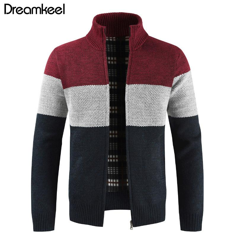 Men's Clothing Sweaters Brand Clothing Thicken Winter Sweater Men Pattern Striped Zipper Warm Outwear Jacket Wool Liner Cardigan Ropa De Hombre 2019 Y1