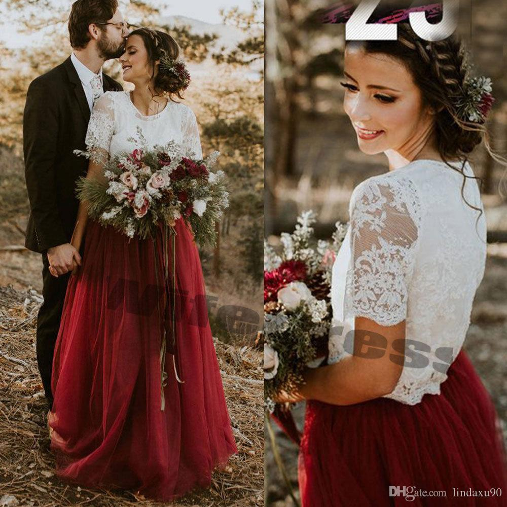 Bohemian Two Pieces Wedding Dresses Lace Top Jewel Neck Wine Red Tutu Skirt Boho Bridal Gown Appliqued Sexy Wedding Dresses