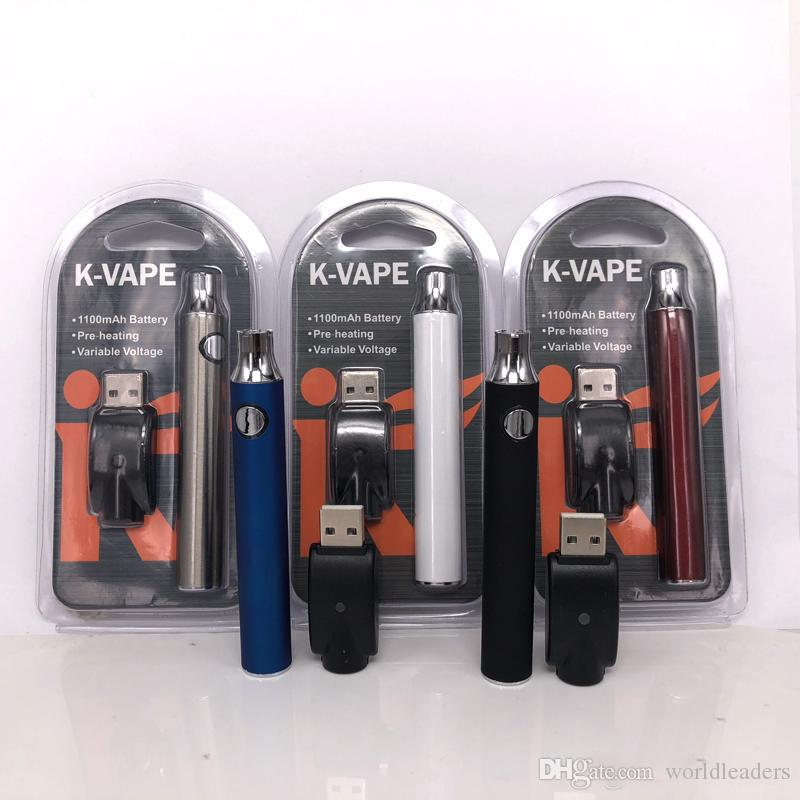 K-Vape Electronic Battery Large Vape Pen 1100mah Battery 510 Thread Carts Battery For Thick Oil Atomizer TH205 Smoking Vape Cartridges