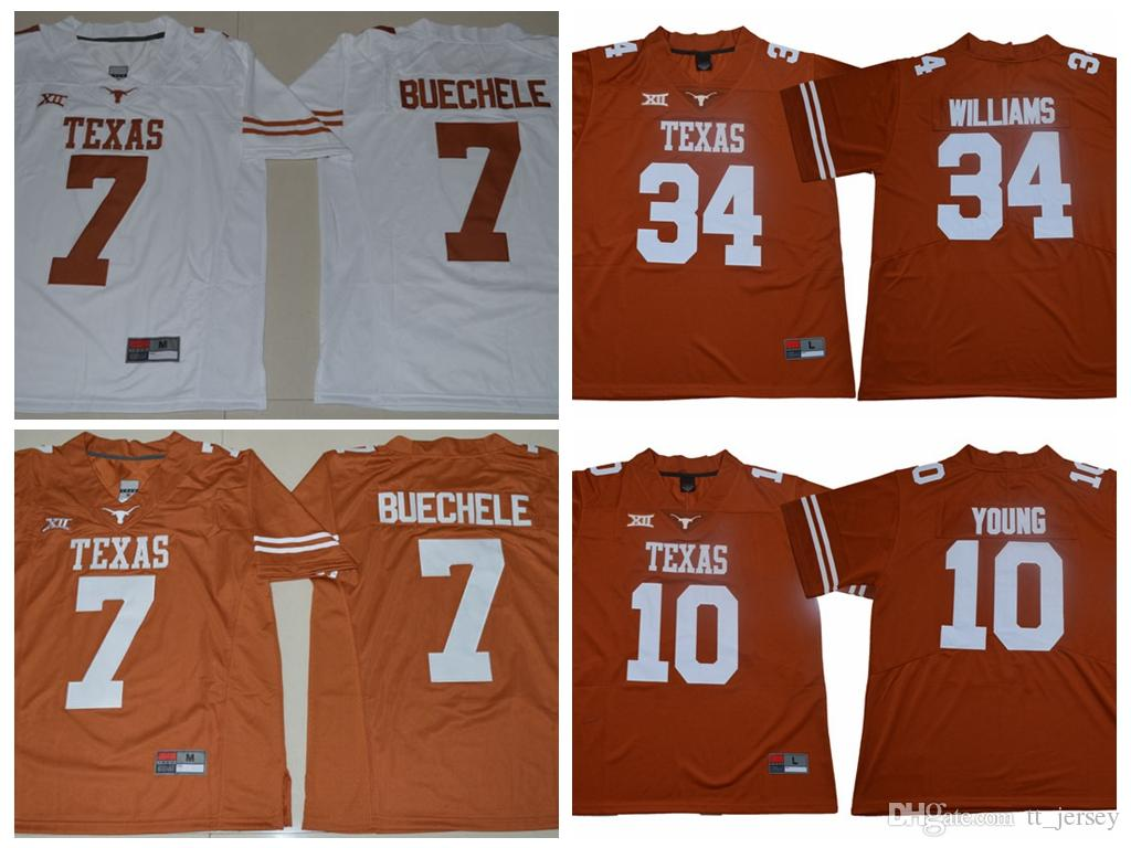 size 40 b085e 07bdb Mens NCAA Texas Longhorns Jersey 7 Shane Buechele 10 Vince Young 34 Connor  Williams Football Jersey Custom Cheap Man College Sport Jerseys