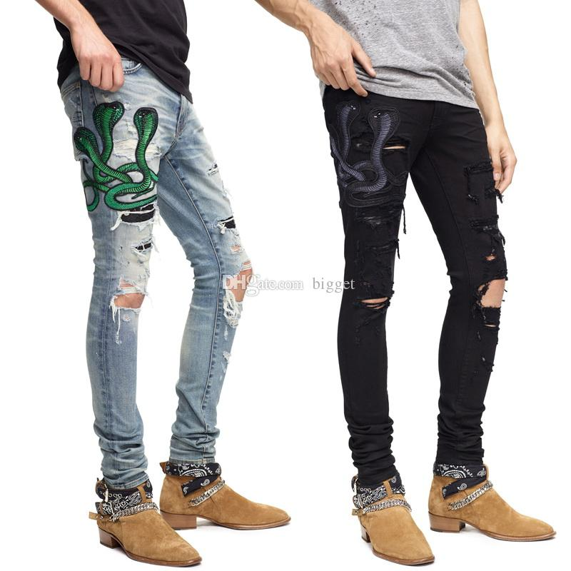Biker Jeans Ricamo Serpente Big Size 40 Strappato Skinny Fit Fit Denim Pants Damage Jeans Uomo
