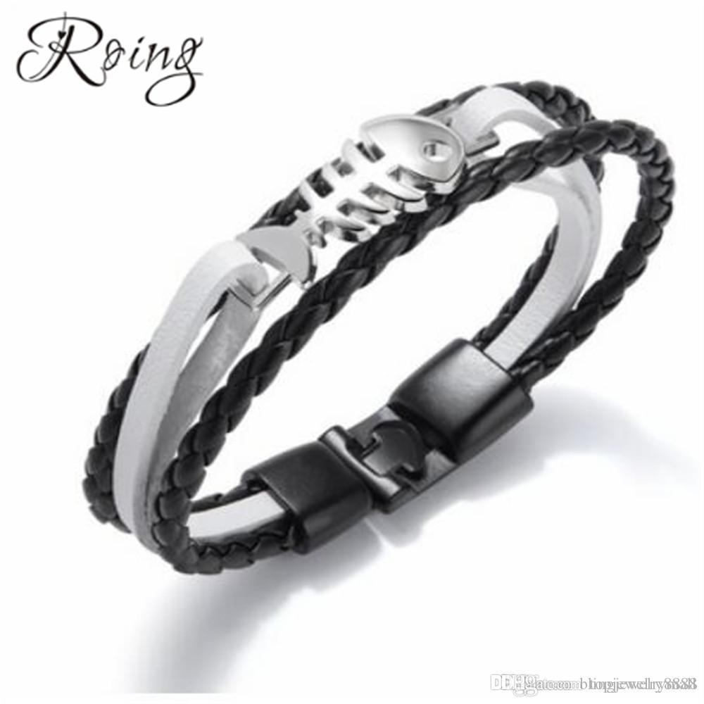 cb23b8f2ab7c0 Roing Black Braided Leather Bangle Men ID Bracelet Fish Charm ...
