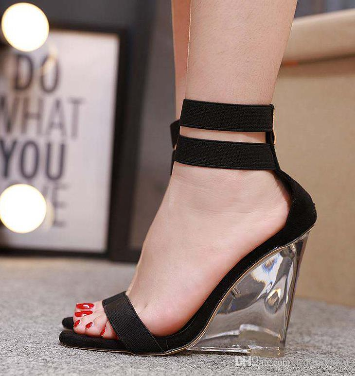 Size 35 To 40 41 Fluorescent Green Elastic Strappy Clear Crystal Wedge High Heel Sandals Beige Black