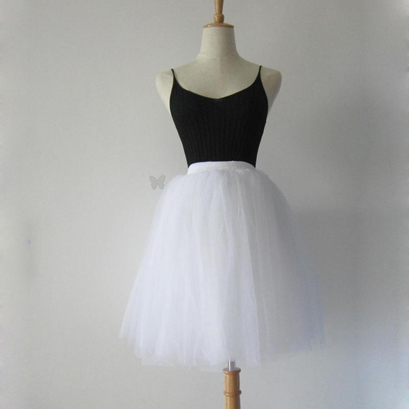 81fbc8429 Nagodo faldas blancas para mujer de moda de invierno streetwear falda  plisada 7 capas de cintura alta chicas tul tutu falda jupe femme falda