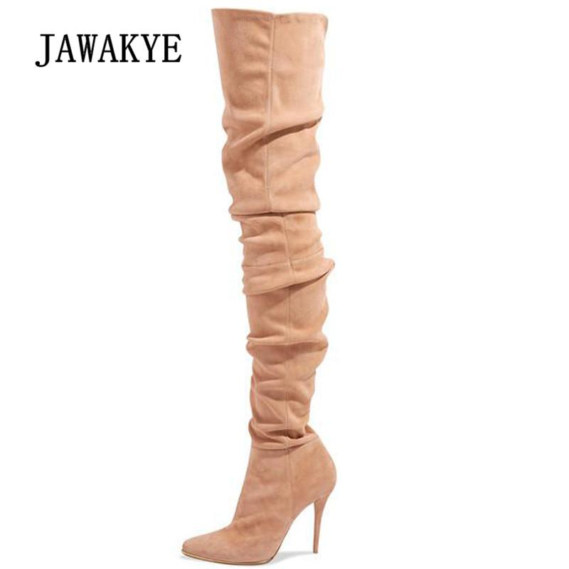 529f988c4e085 2019 Nude Sexy Over The Knee Boots Women Pointed Toe Grey Black Suede High  Heel Boots Woman Fashion Stretch Thigh Cheap Shoes Womens Shoes From  Ipinkie, ...