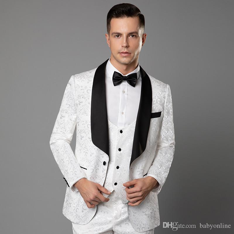 74e578980f White Lace Embroidery Mens Formal Wedding Tuxedos Party Celebrity Wears  Bridegroom Mens Best Mens Wedding Suits Blazers Free Shipping