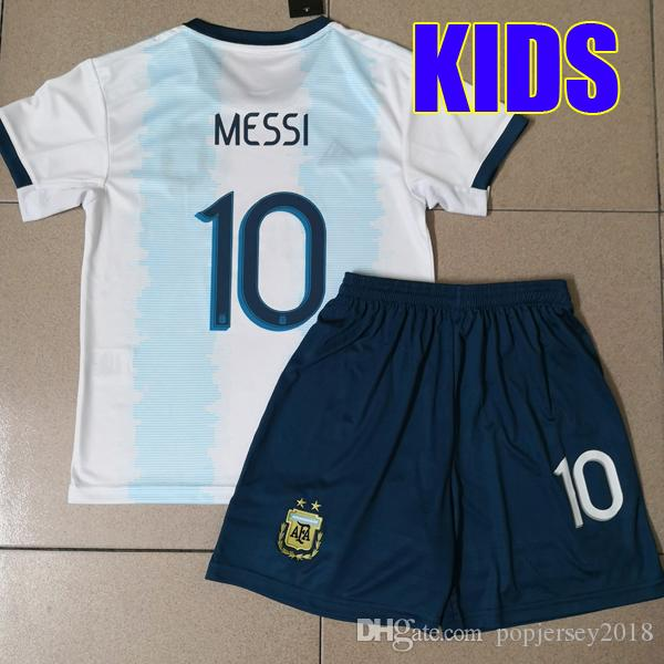 innovative design b758d 0084b Argentina KIDS SETS Soccer Jersey 2019 2020 Argentina boys youth kits  DYBALA Messi 19 20 kun Aguero Child football soccer shirt uniform