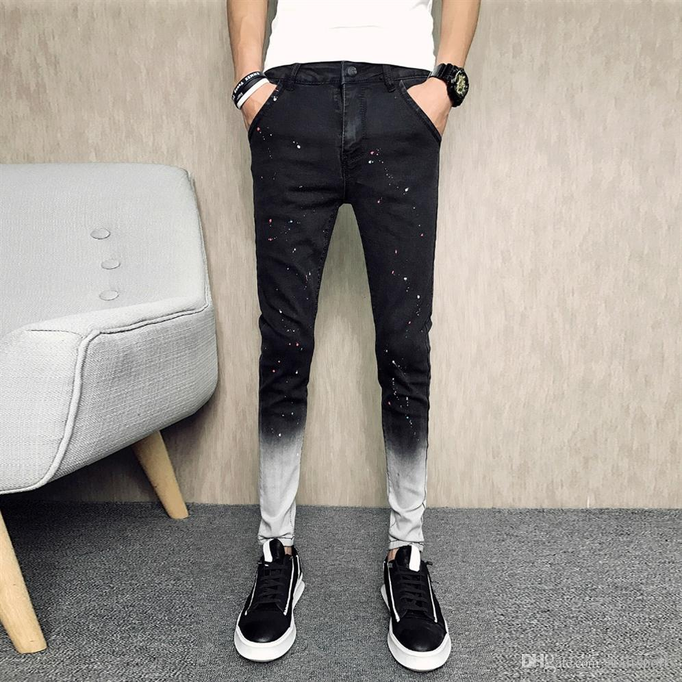 ab934c4a 2019 Summer Brand New Jeans Men Fashion 2018 Patchwork Color Slim Fit  Skinny Jeans Men Casual Black Denim Pants Trousers 34 28 #346243 From  Startsports, ...