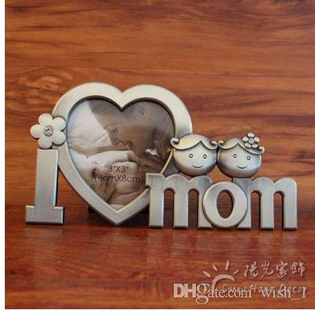 "I Love Mom Dad 3"" Heart Shaped Metal Photo Frame Desktop Decoration Ornaments Home Craft Family Gift Customized Photo Accepted"
