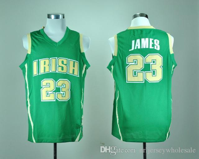 quality design d8912 71c96 St. Vincent St. Mary High School Irish Lebron James 23 Basketball Throwback  Jersey Green Yellow White Embroidery Sportwear Shirt For Men