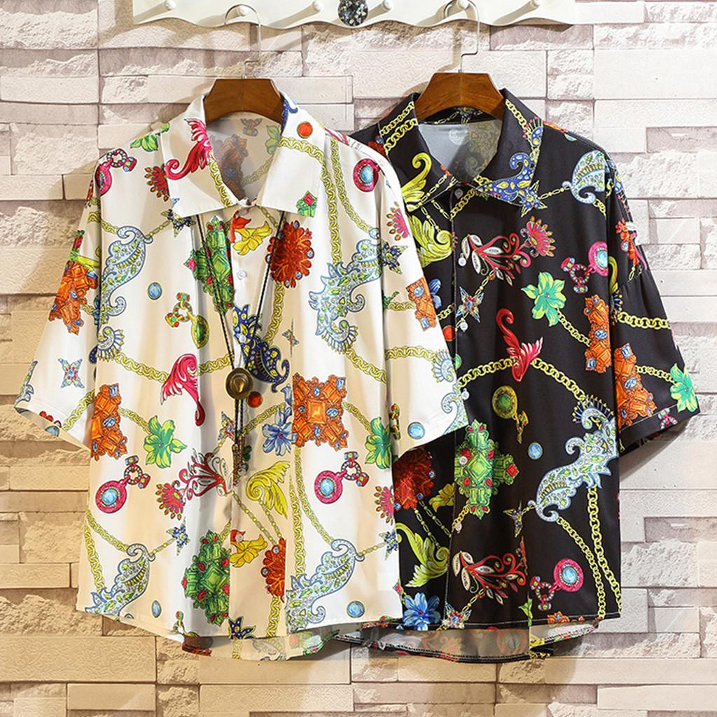 2019 New Summer Mens Short Sleeve Beach Hawaiian Shirts Algodón Casual Floral Shirts Regular Plus Size 5XL Ropa para hombre Moda
