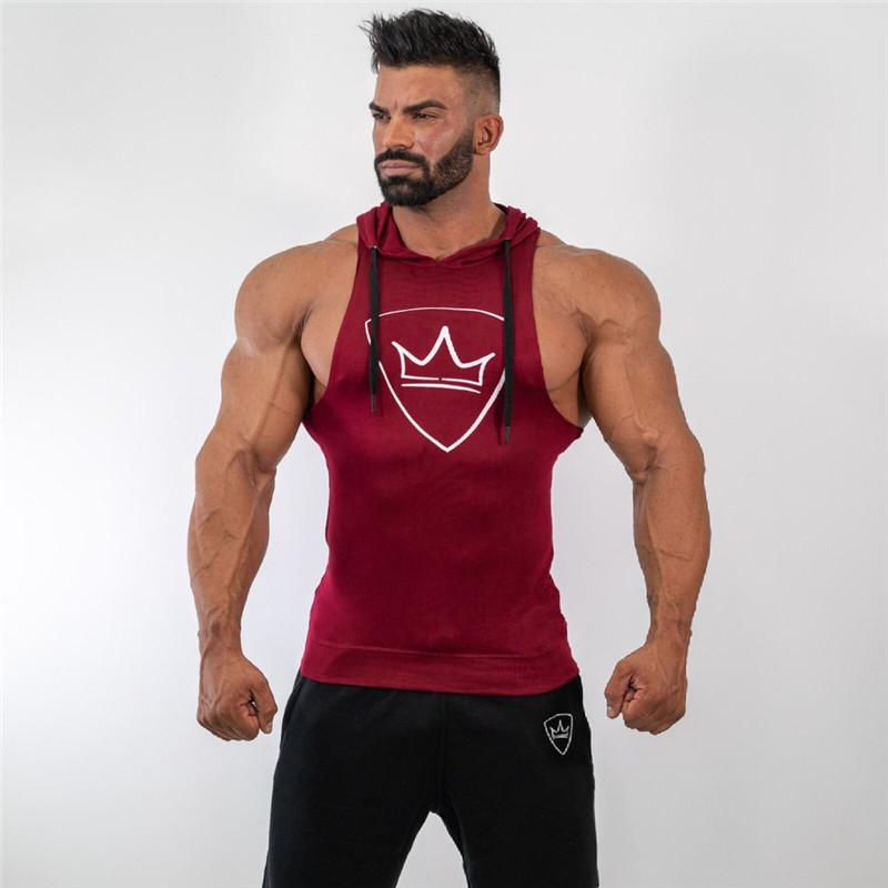 e5ea972f3ef48f 2019 Men Bodybuilding Hooded Tank Top Cotton Sleeveless Vest Sweatshirt  Gyms Fitness Workout Casual Fashion Tops Male Brand Clothing From Piterr
