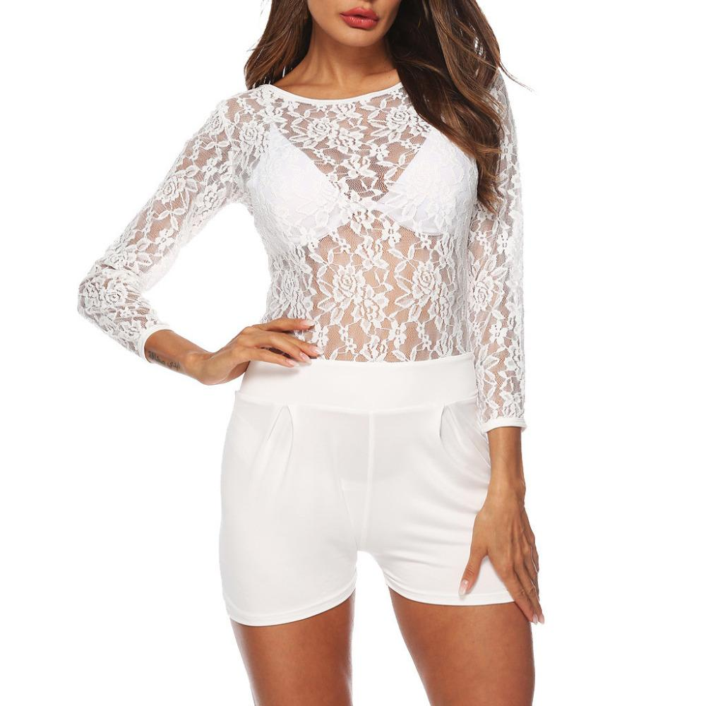 FREE OSTRICH Fashion ladies sexy mesh perspective long-sleeved nightclub comfortable casual tight-fitting lace short jumpsuit