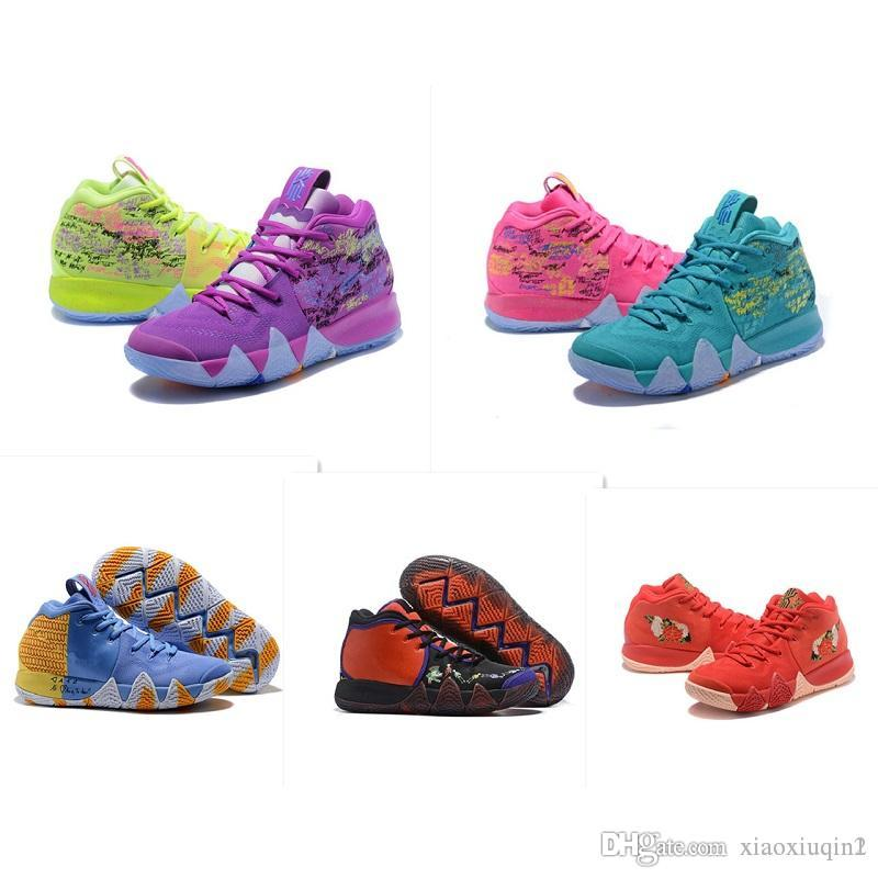 timeless design 65806 25a50 kyrie 5 mens basketball shoes for sale Irving 4S IV NCAA Christmas BHM Oreo  Floral flowers kids sneakers with original box