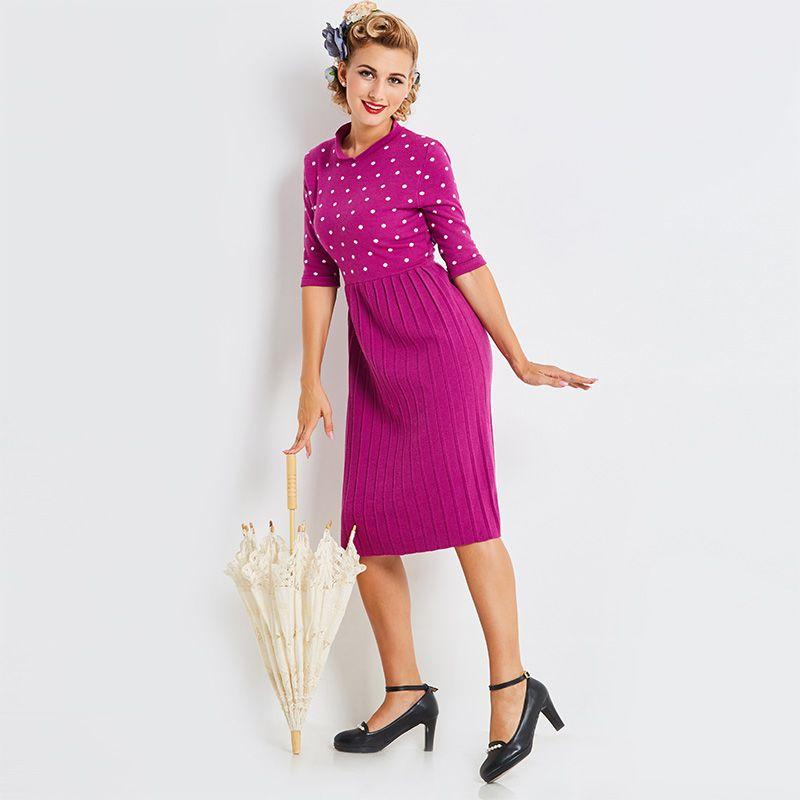 a523b1076bd Sisjuly 2018 Stand Collar Half Sleeve Purple Pleated Dress Long ...