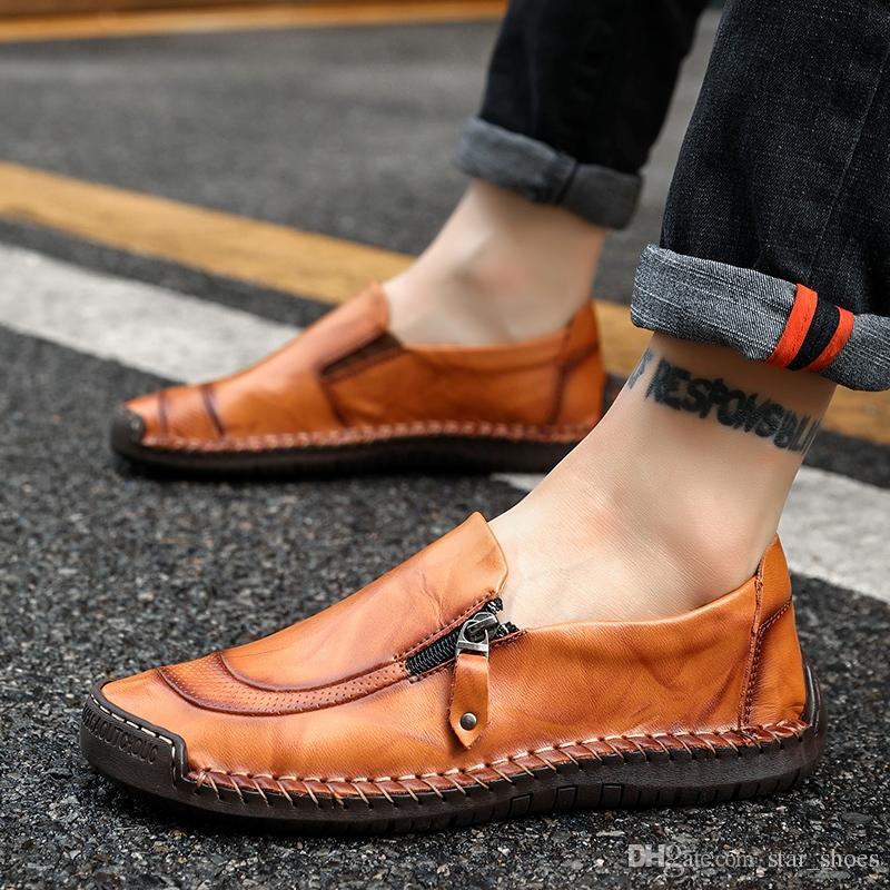 Casual Caminar Hombre Paseos Zapatos Genuino Cuero Masculinos Pisos Mocasines Conductor De Calzado Cómodo Conducción Gommino j3R4Ac5Lq