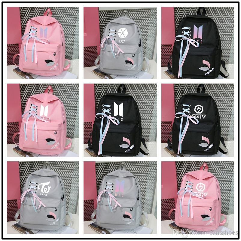 fa395535e9 New 2019 Bts Exo Got7 Canvas Sac A Dos Backpack K Pop Kpop Monsta X Twice  Backpacks Bangtan Boy Bag Femme Women Rucksacks #43850 Kids Backpacks  Dakine ...