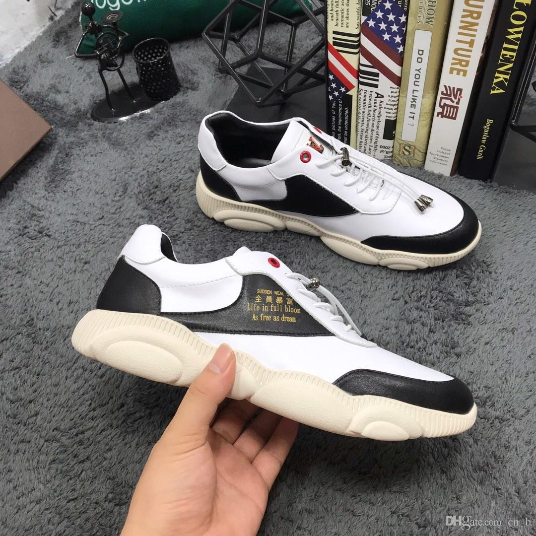 2019z limited edition tide brand men's leather casual shoes, high quality fashion low shoes, versatile comfortable sports shoes, size: 38-44