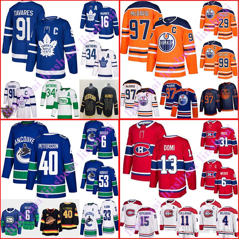 Toronto Maple Leafs Mitch Jersey Marner Edmonton Oilers Connor McDavid Montreal Canadiens Vancouver Canucks Domi Pettersson camisetas de hockey
