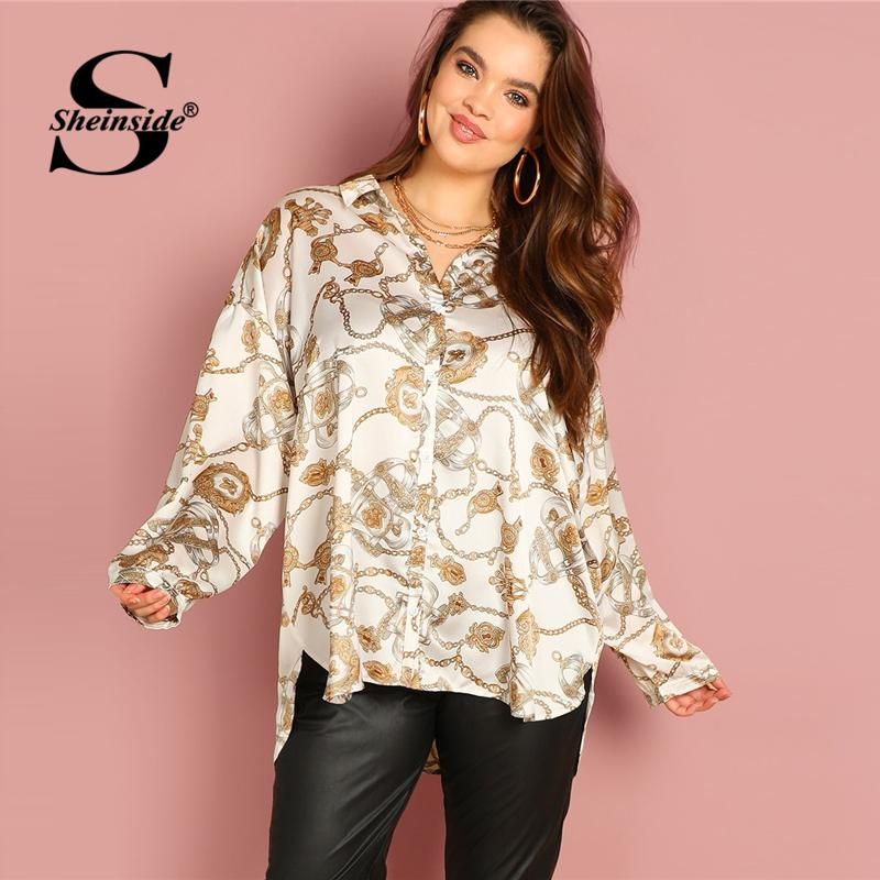 081355f12b68d 2019 Sheinside Plus Size Chain Print Satin Blouse Women Long Shirt 2019  Spring Asymmetrical Womens Blouses Long Sleeve Ladies Tops From Candycloth