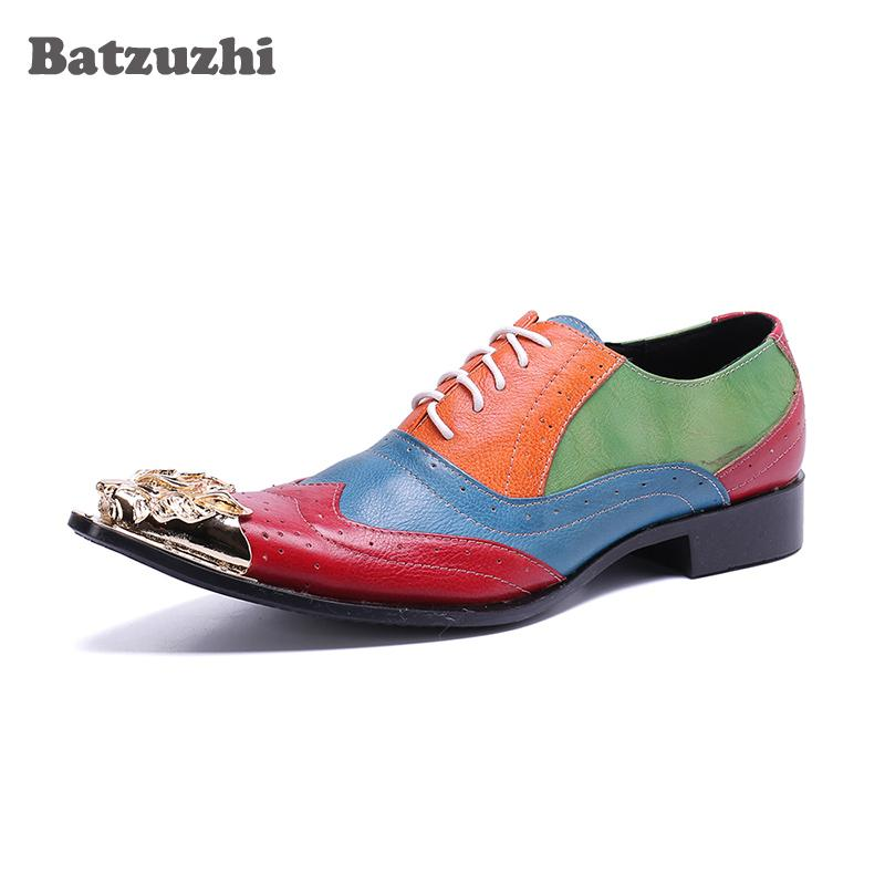 Compre Batzuzhi Estilo Italiano De Lujo De Los Hombres Zapatos De Vestir De  Oro Puntiagudo Dedo Del Pie De Cuero Genuino Zapatos De Negocios Formales  Con ... 23810192cfe