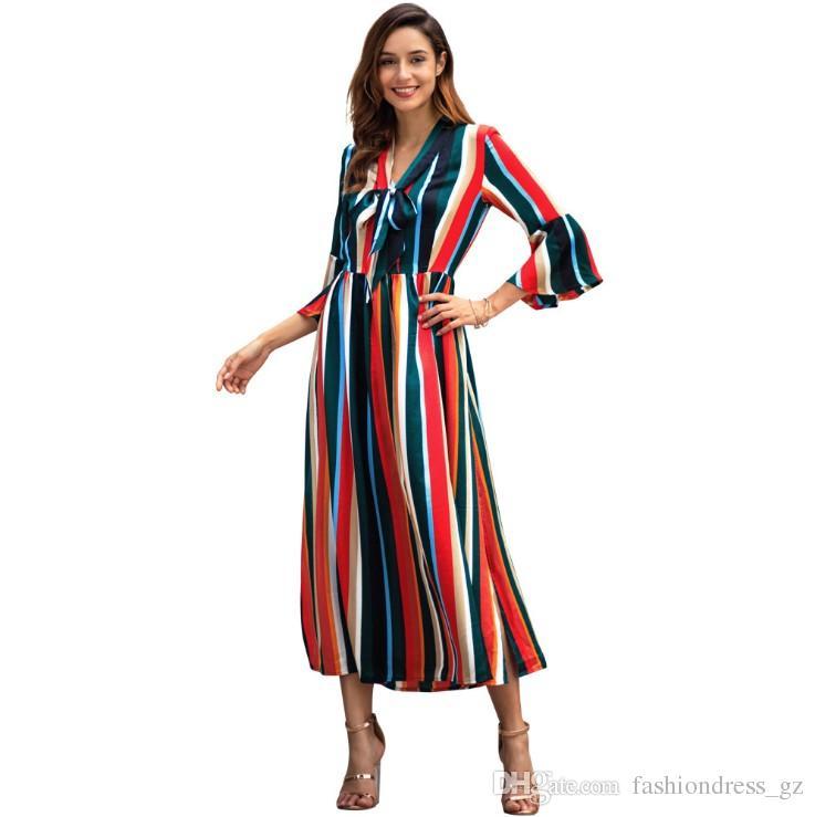 8526d4c8d Compre Mujer Vestido Largo Arco Iris Rayas Manga Angosta Split V Cuello  Arco Frente Señoras Primavera S M L XL Vestido Estampado Informal A  17.16  Del ...