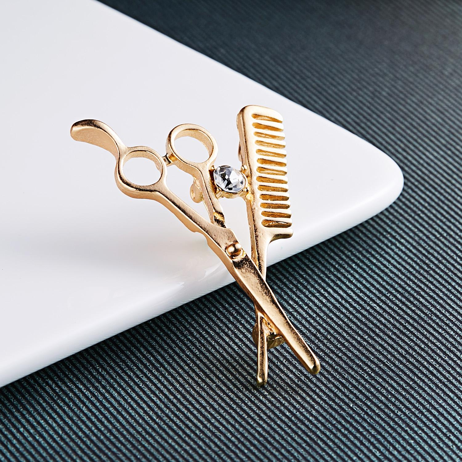 Comb Scissors Brooch Hat Collar Clips Bijoux Austrian Crystal Hijab Pins Up Brooches for Wedding Dress Girl Jewelry Brooch