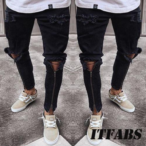 cbcc1d8fff8 2019 Plus Size Jeans Men Fear Of God Ripped Skinny Jeans Men Slim ...