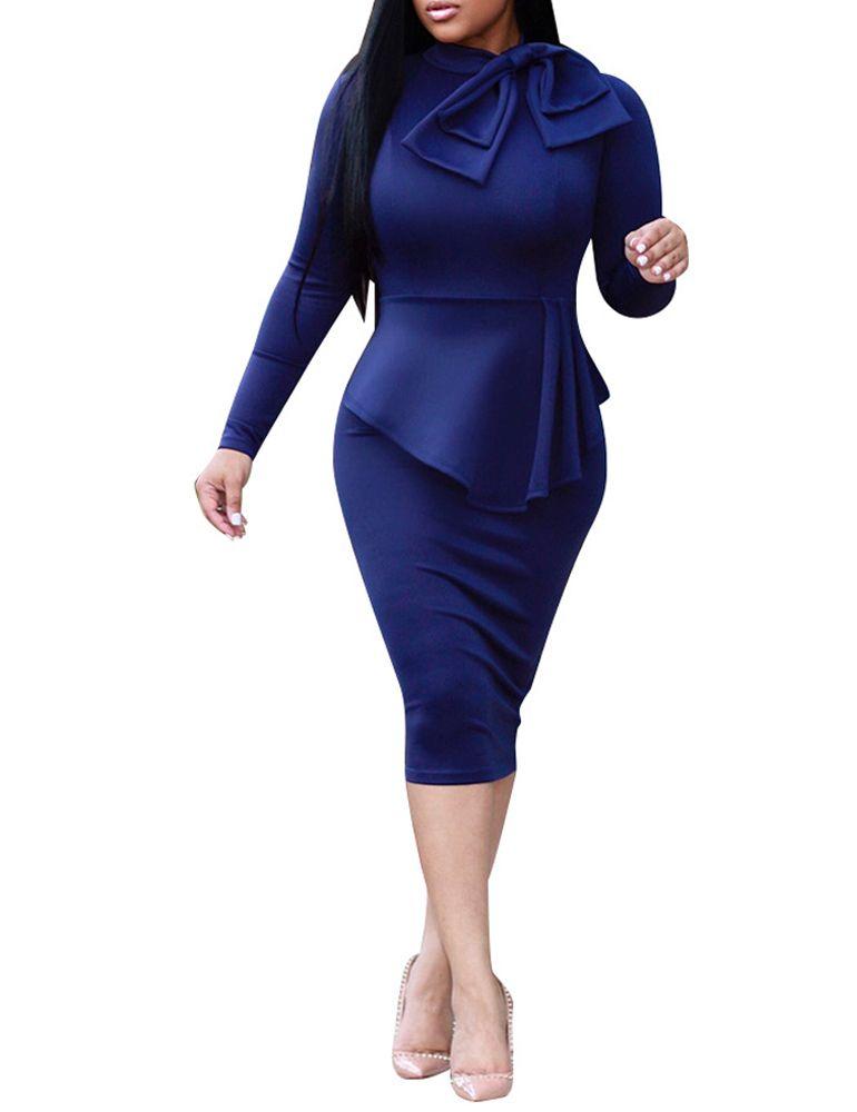 5889a682ffa Elegant Women Midi Dress High Neck Long Sleeve Bowknot Ruffles Pencil Dress  Solid Slim Bodycon OL Dress Red Green Dark Blue Robe Clubwear Dresses  Designer ...