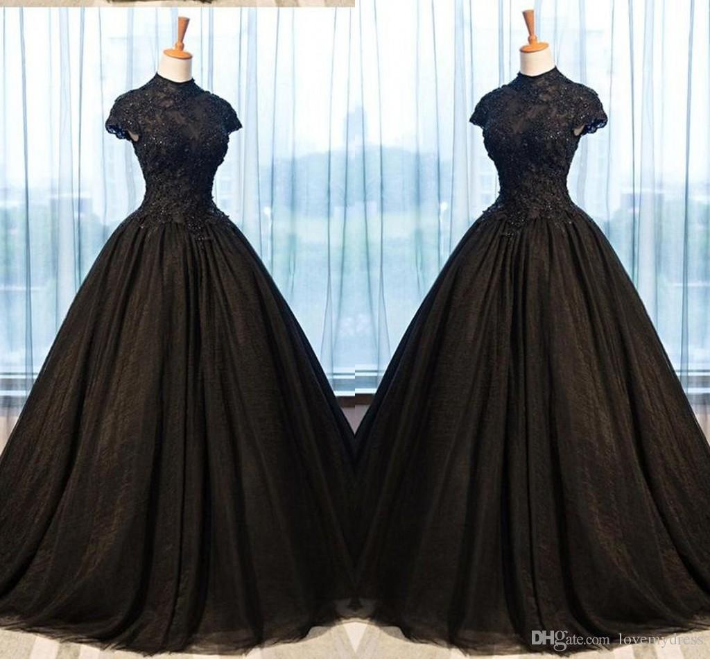 2019 Black Lace Evening Dresses Ball Gowns High Neck Applique Beaded Empire Waist Princess Prom Dresses Graduation Dress Women Plus Size