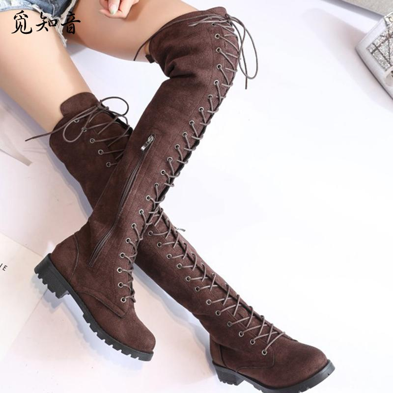 shop for original big discount new authentic COOTELILI Thigh High Lace-Up Over The Knee Flat Long Ladies Rubber Boots  Women Shoes 35-43