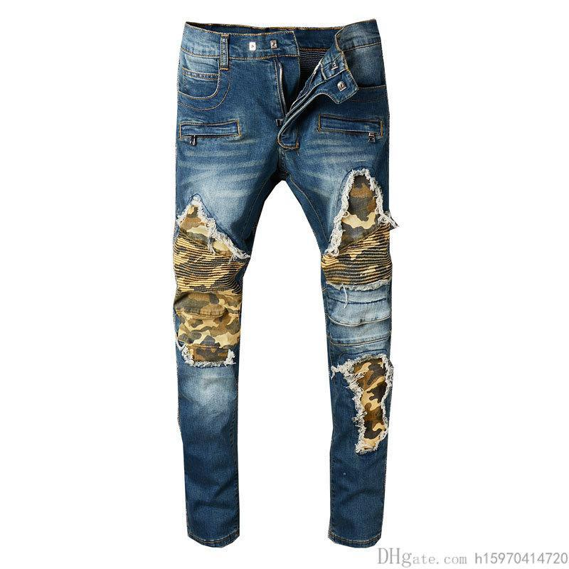 Mens Jeans High Quality Casual Warm Locomotive Blue Camouflage Jeans Patch Fashion Slim Trousers Biker Jeans