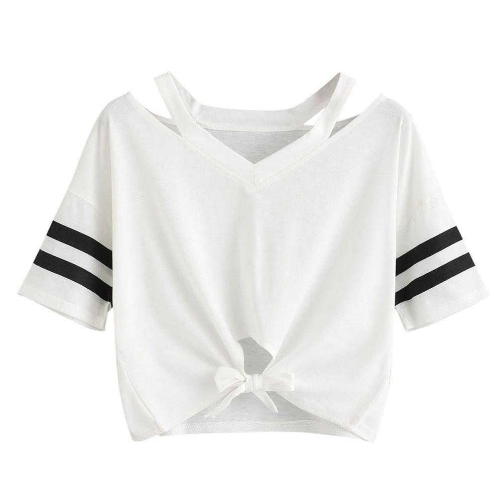 0db318e5a402e 2018 Women Ladies Crop Tops Causal Tie Short T Shirt Short Sleeve Round Neck  Casual Tops Tee Shirts Femme Camisetas Feminina Custom T Shirts T Shirt ...