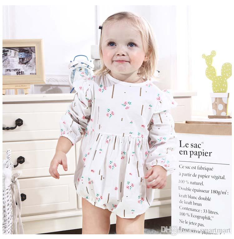 d12b6d7c6 2019 Cute Baby Girls Ins Ruffles Cotton Rompers Candy White Yellow Color  Floral Print Ruffle Neckline Spring Summer Autumn Baby Clothes From  Smartmart, ...