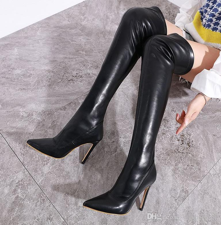 christmas new year red over the knee thigh high boots high heels fashion luxury women winter boots PU leather size 35 to 40