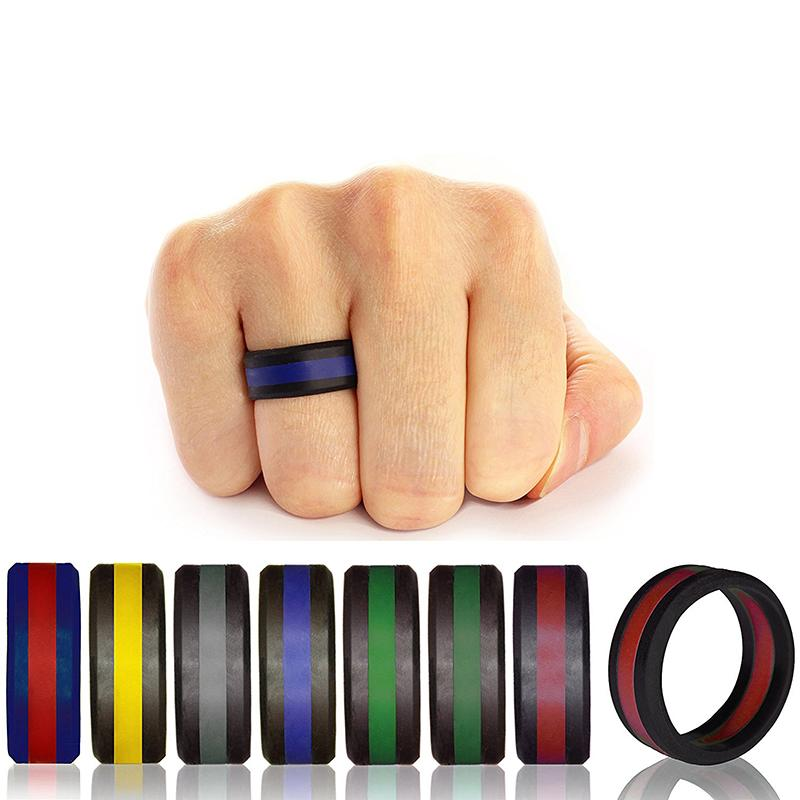 Luxury women's Two Tone Silicone Rings Three layers Tire Design Silicone Rubber Flexible Ring