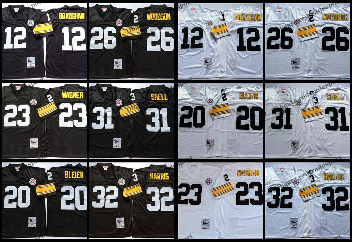 timeless design cd74c 5094a Vintage Pittsburgh 12 Terry Bradshaw Steelers 20 Rocky Bleier 23 Mike  Wagner 26 Rod Woodson 31 Donnie Shell 32 Franco Harris Football Jersey