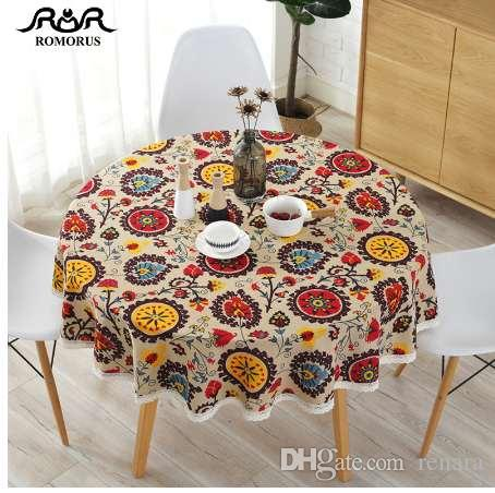 Extra Large Round Table Cloth.Fashion Sunflower Pattern Round Table Cloth 150cm Bohemian Cotton Linen Tablecloths Dustproof Decorative Covers For Round Table