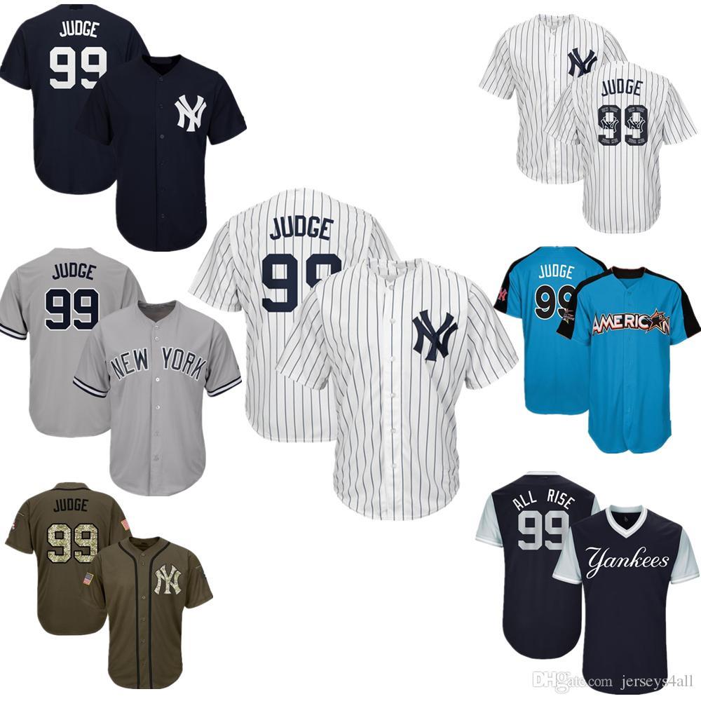 2019 Mens New York Yankees Baseball Jerseys 99 Aaron Judge Jersey Navy Blue  White Gray Grey Green Salute Players Weekend All Star Team Logo From  Jerseys4all ... e3c649102e7