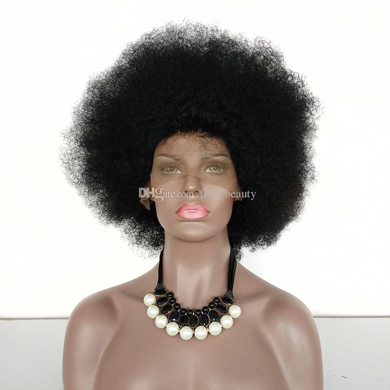 Short Brazilian Afro Curly Wig Color #1 Jet Black Remy Human Hair Lace Wigs For Black Women
