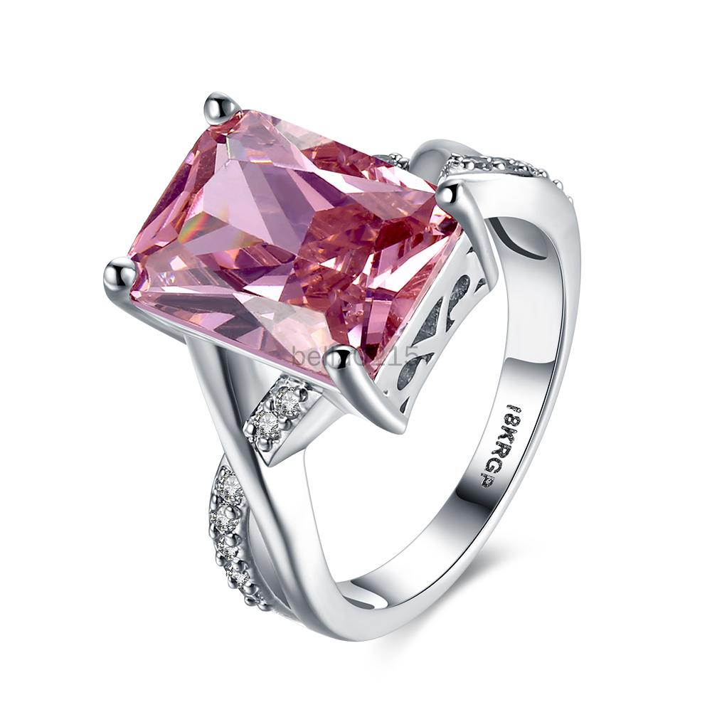 Pink Crystal Platinum-plated Ring Eight Hearts, Eight Arrows and Four Claws Diamond engagement ring Wedding jewellery